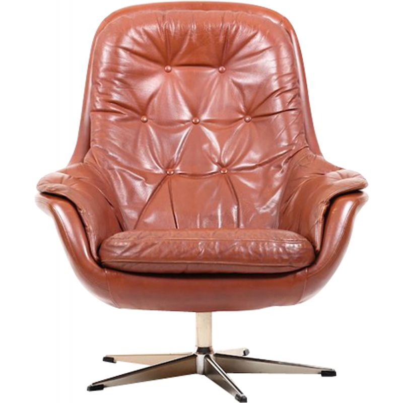Vintage danish swivel lounge chair in brown leather 1960