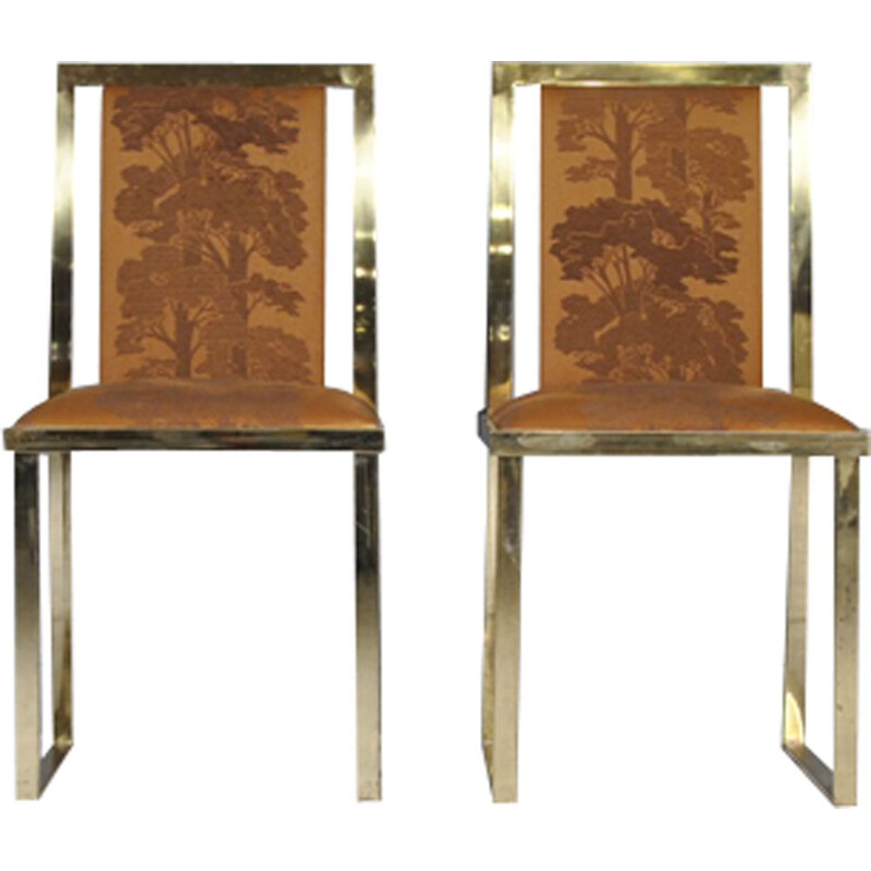 Set of 2 vintage italian chairs by Romeo Rega in brass 1970