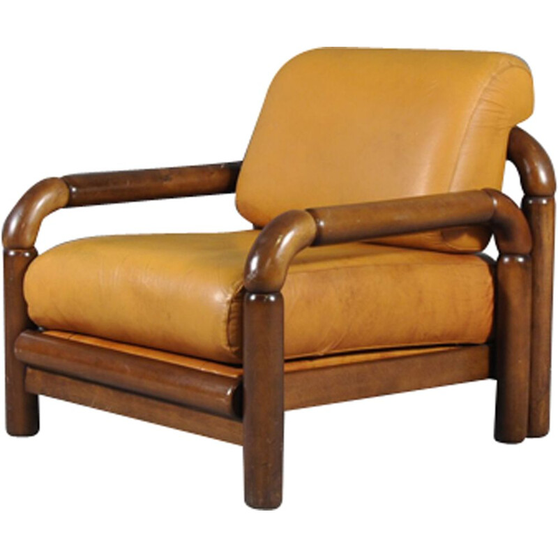 4 vintage Scandinavian leather armchairs from the 70s