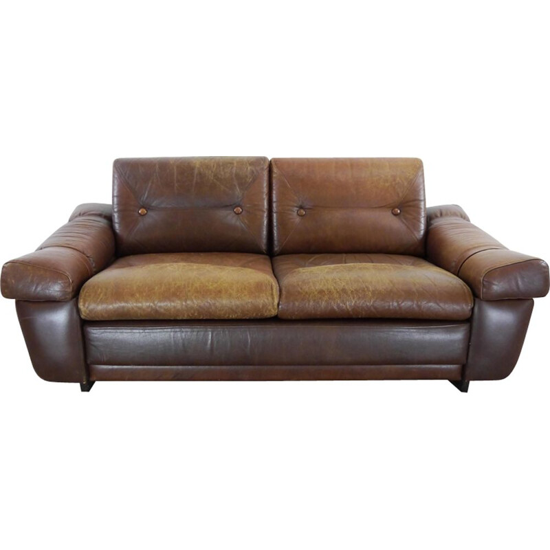 Vintage 2-seater sofa in brown leather, 1960
