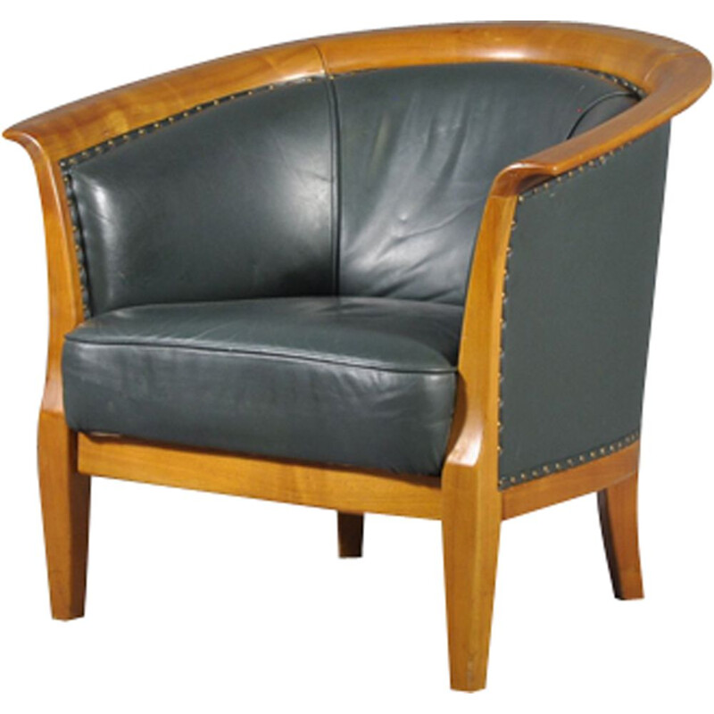 Vintage armchair in oversized leather,1970