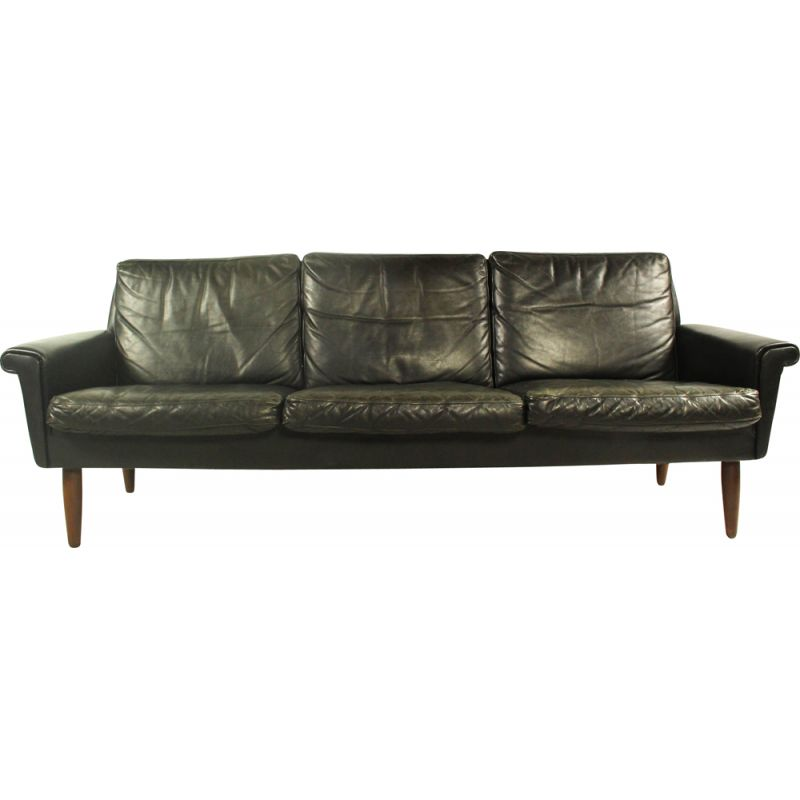 Vintage sofa for Vejen in black leather and wood 1960