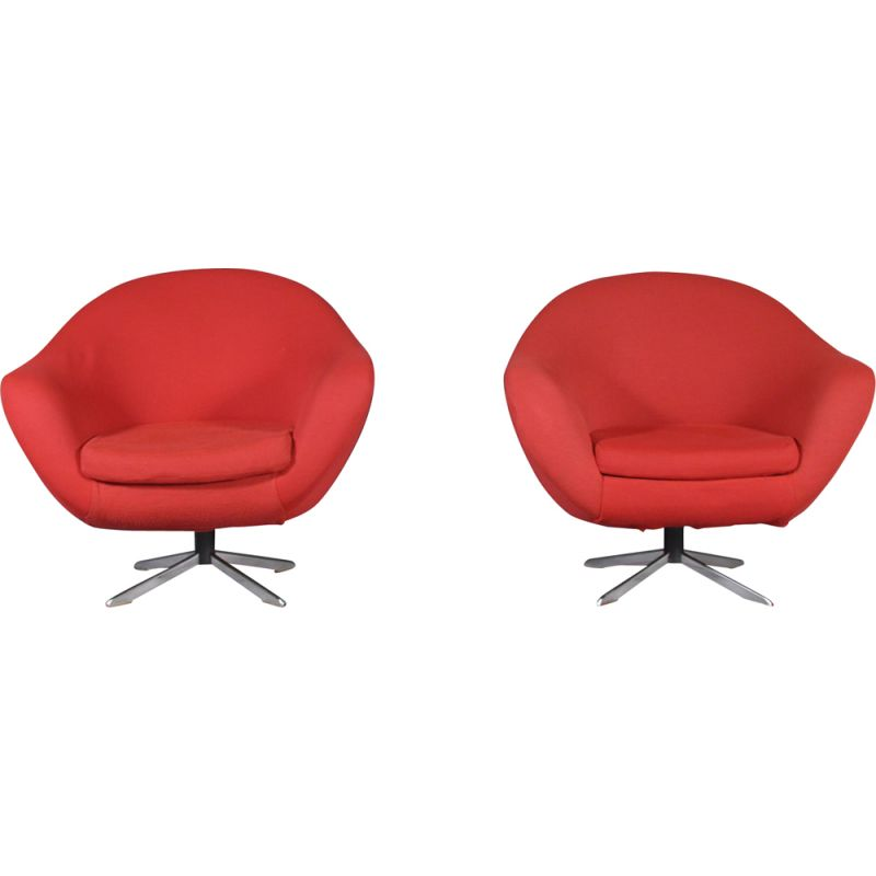 Pair of vintage swivel armchairs in red fabric and metal 1980