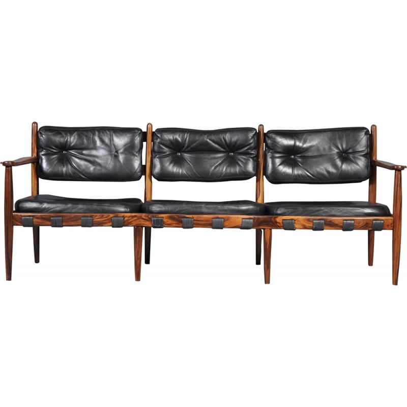 Vintage sofa in rosewood and black leather by Eric Merthen for IRE AB Skillingaryd Möbler, Sweden 1960s