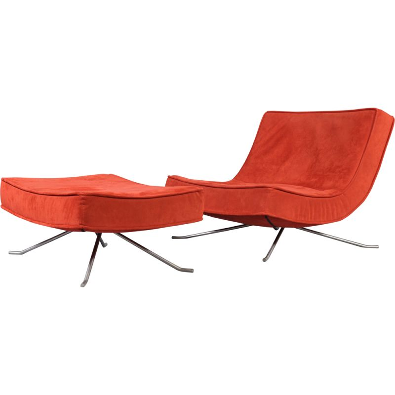 Vintage low chair & ottoman Pop red for Ligne Roset by Christian Werner France 1990s