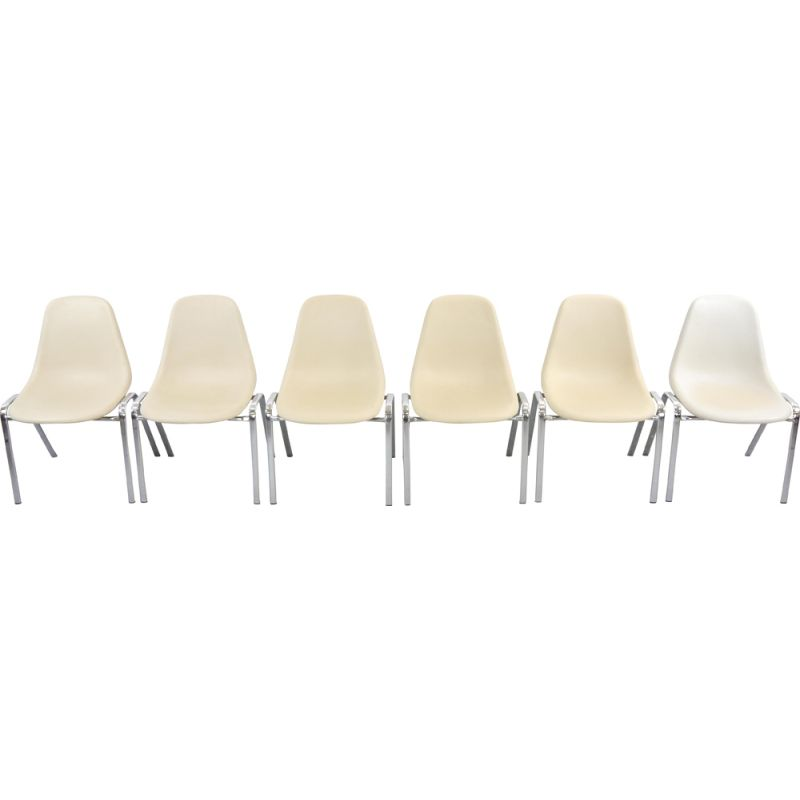 Set of 6 vintage dining chairs stackable by F. Pollack, Sulo, 1978