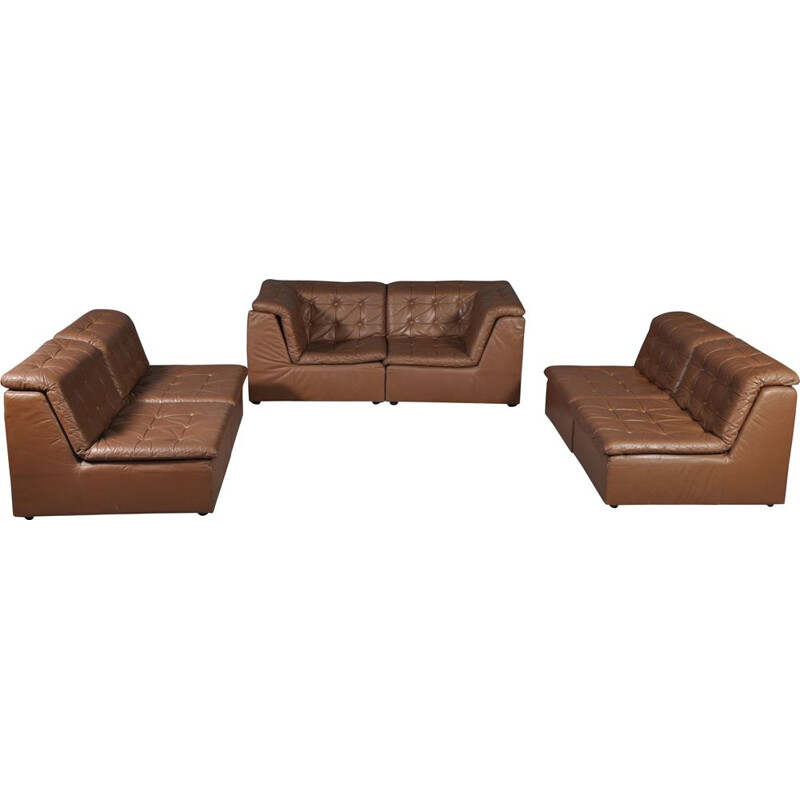 Vintage living room set modular sofa cognac leather Germany 1970s
