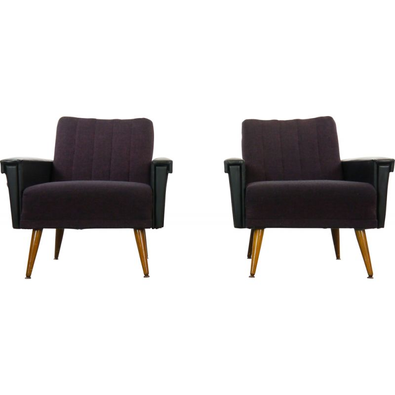 Pair of vintage purple-black armchairs