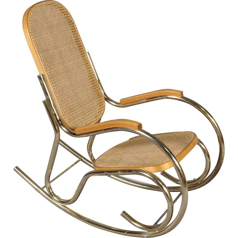 Vintage rocking chair in brass and cane 1970