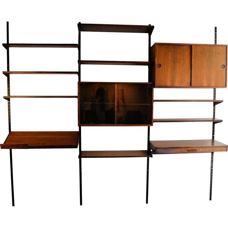 Vintage wall unit modular in rosewood by Kai Kristiansen 1960