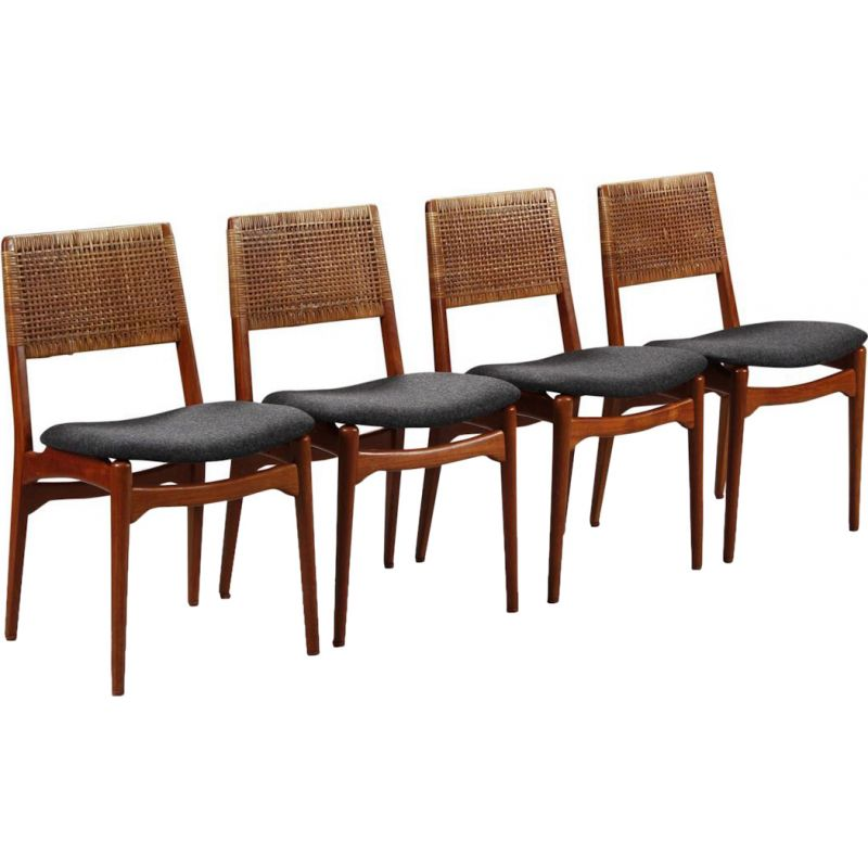 Set of 4 vintage teak and rattan dining chairs by E. Knudsen