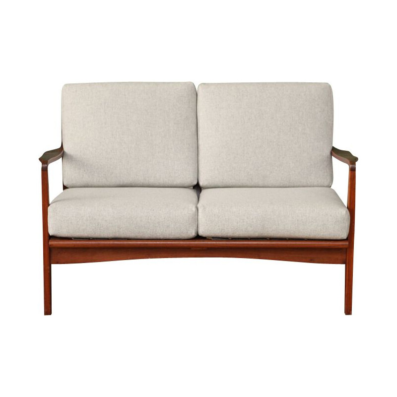 Vintage grey 2-seater sofa in teak 1960