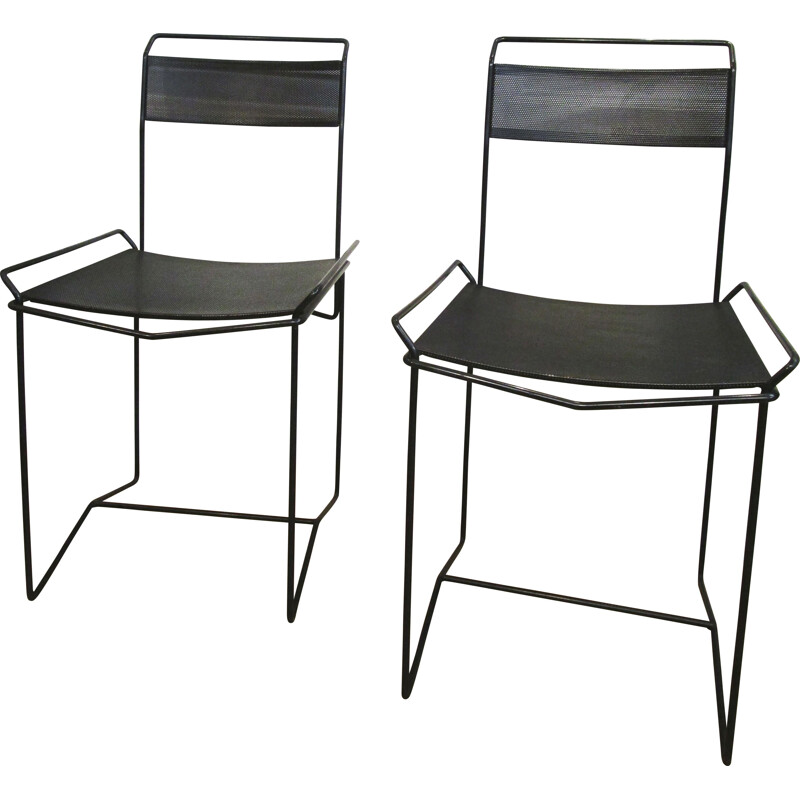 Pair of vintage chairs in steel and black perforated metal 1970-80s