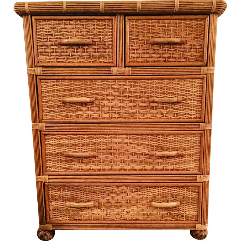 Vintage chest of drawers in rattan and bamboo 1970s