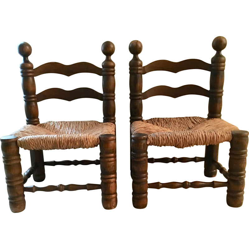Pair of vintage chairs in turned wood 1950s
