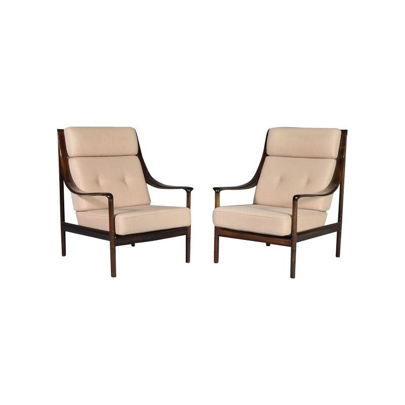 Pair of vintage armchairs by Knoll in mahogany and beige fabric 1960