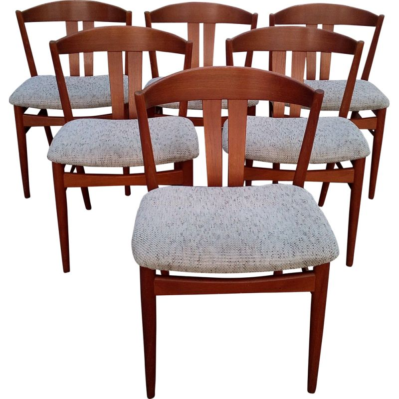 Vintage set of six danish dining chairs in teak by Johannes Andersen,1960
