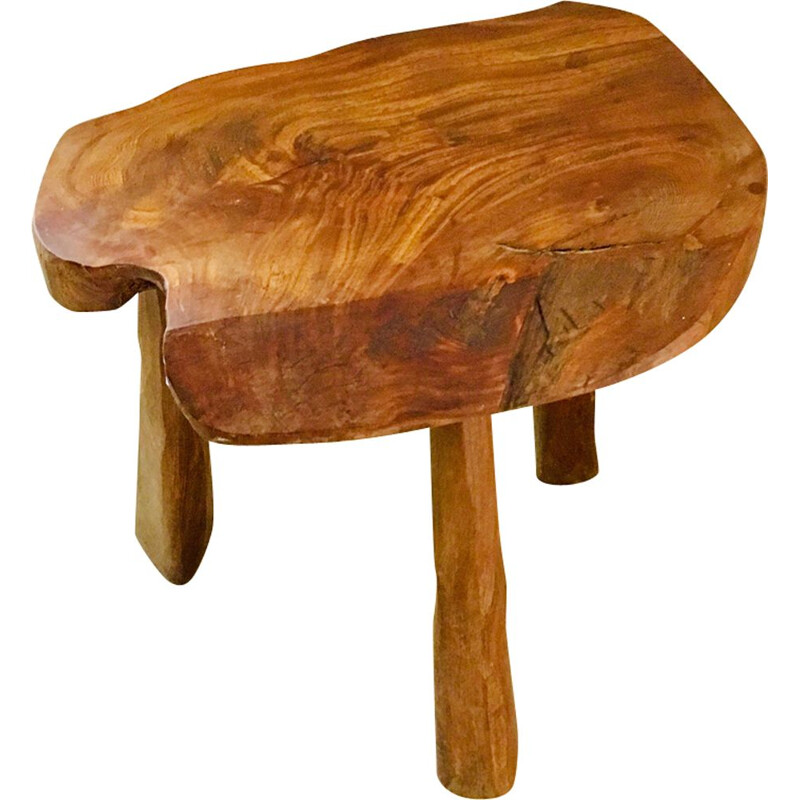 Vintage stool 3 feet wooden France 1950s