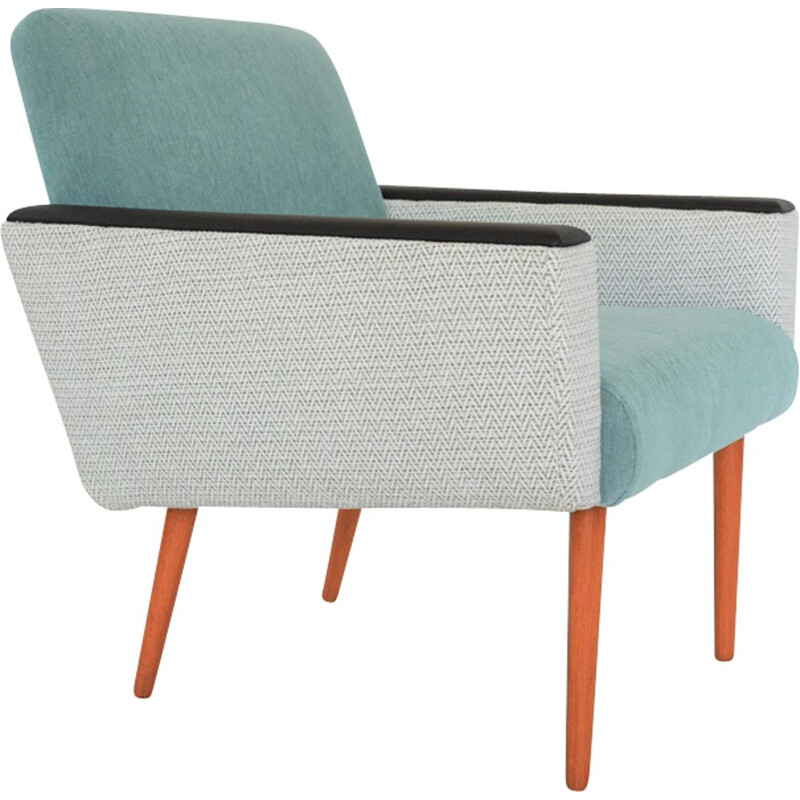 Vintage german bicolor armchair in green fabric and wood 1960