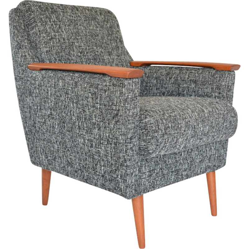 Vintage german armchair in black and white fabric and wood 1960