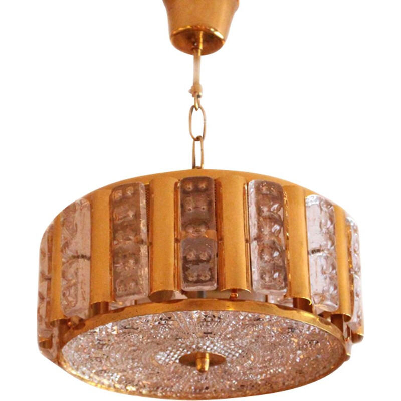 Vintage pendant lamp for Orrefors in brass and glass 1970