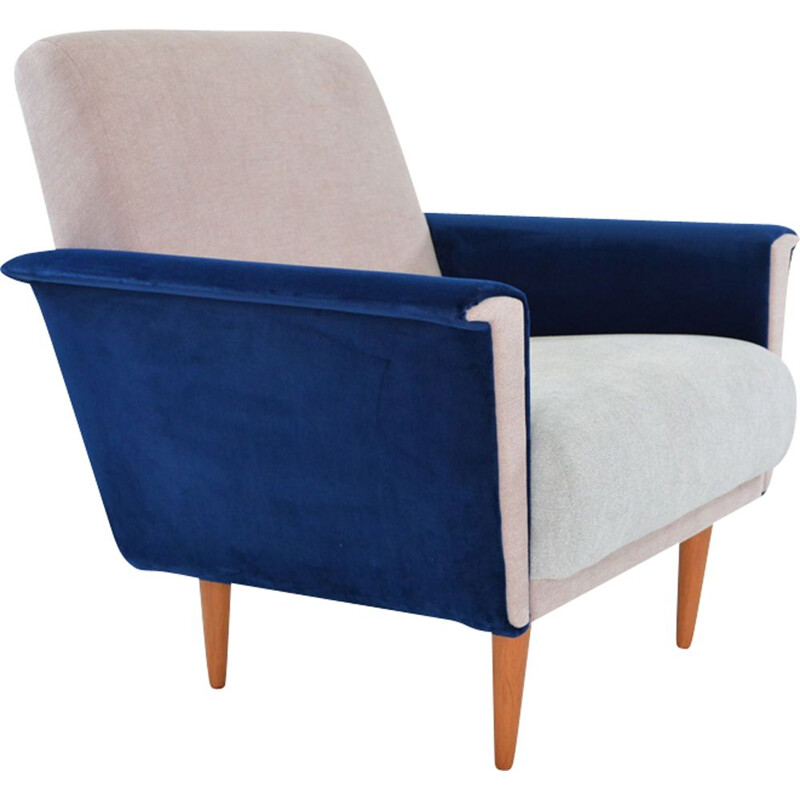 Vintage german armchair in blue fabric and wood 1960
