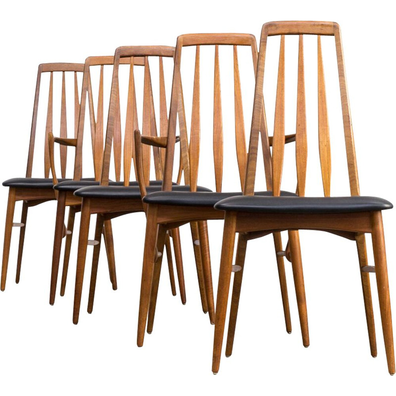 Set of 5 vintage Eva chairs for Koefoed Hornslet in black leatherette and teak