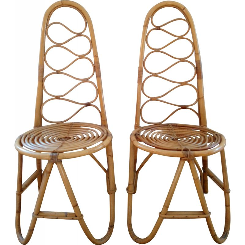 Pair of vintage chairs in bamboo and rattan 1970s