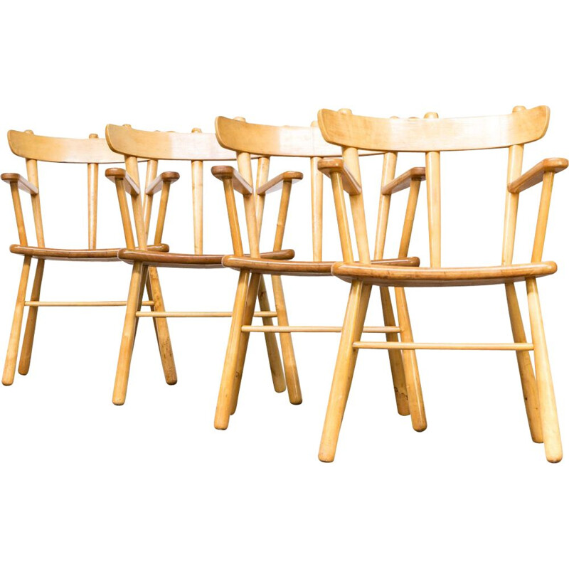 Set of 4 vintage dining chairs in oak round wood 1970s