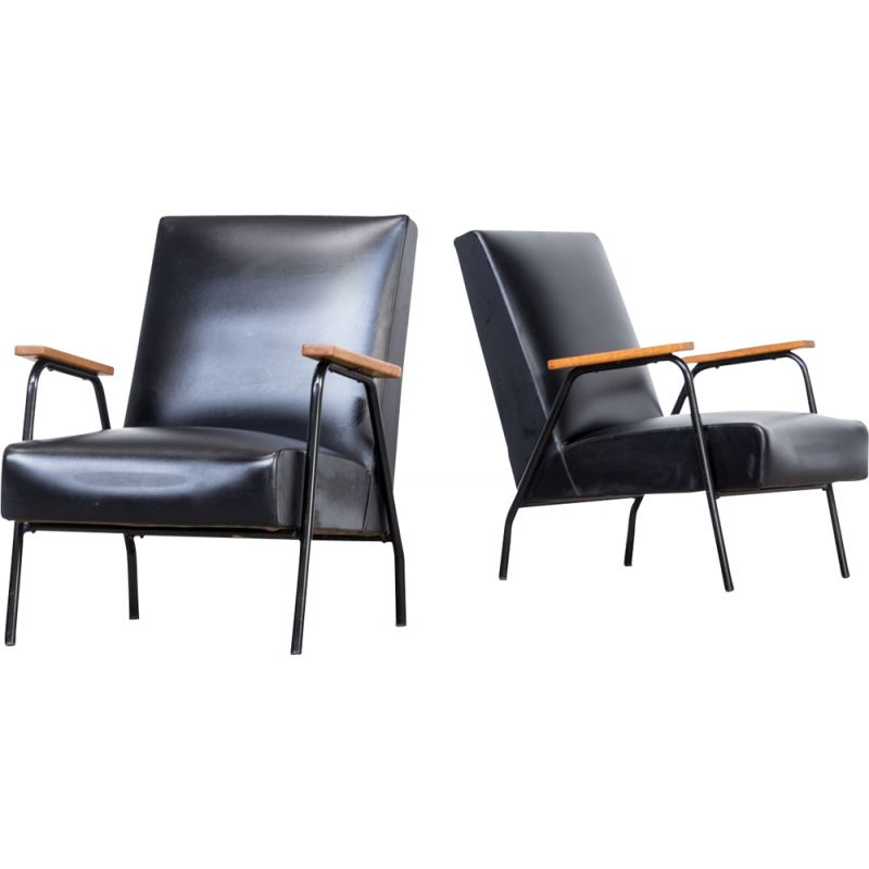Set of 2 vintage Rio black armchairs for Meurop in teak and metal