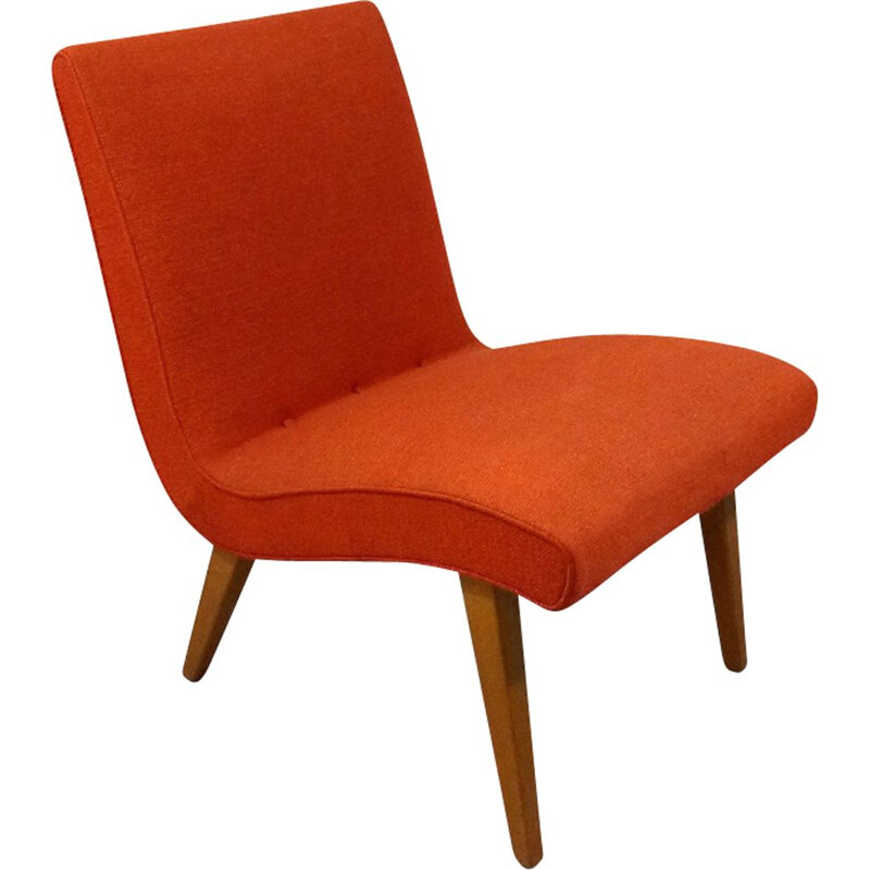 Vintage Vostra armchair by Jens Risom for Knoll in orange fabric and wood 1940