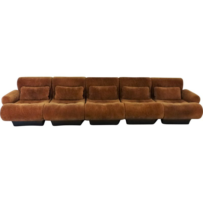 Vintage modular seating group Sofaletta for Zapf in brown fabric