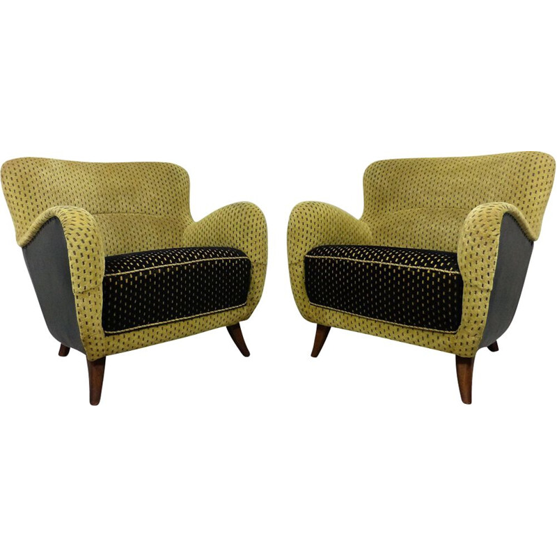 Pair of vintage armchairs in black and green velvet and wood 1950