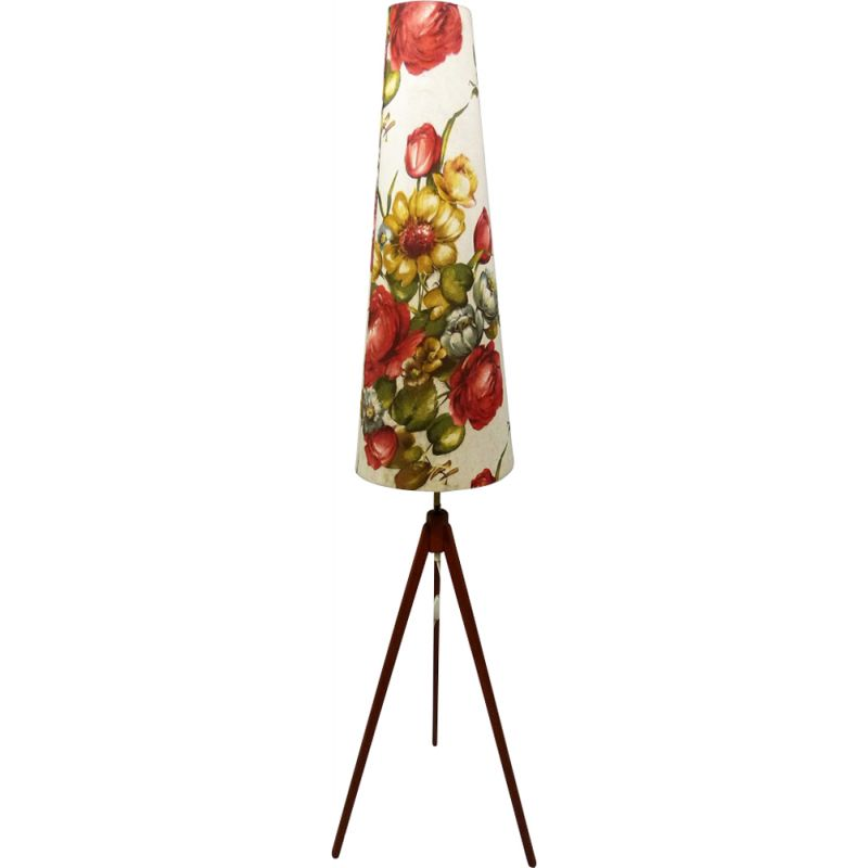Vintage tripod floor lamp in teak and fabric with flower shade 1950
