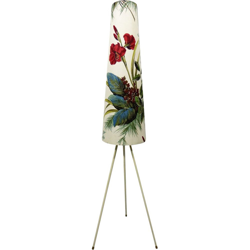 Vintage botanical tripod floor lamp in fabric and brass 1950