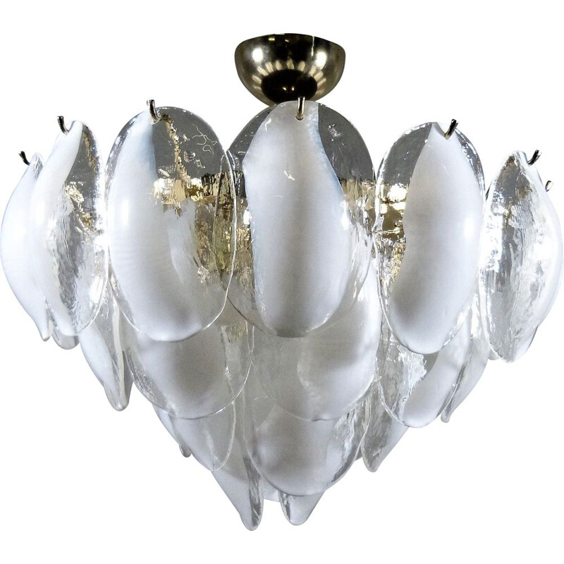 Vintage italian chandelier for Murano in brass and Murano glass 1970