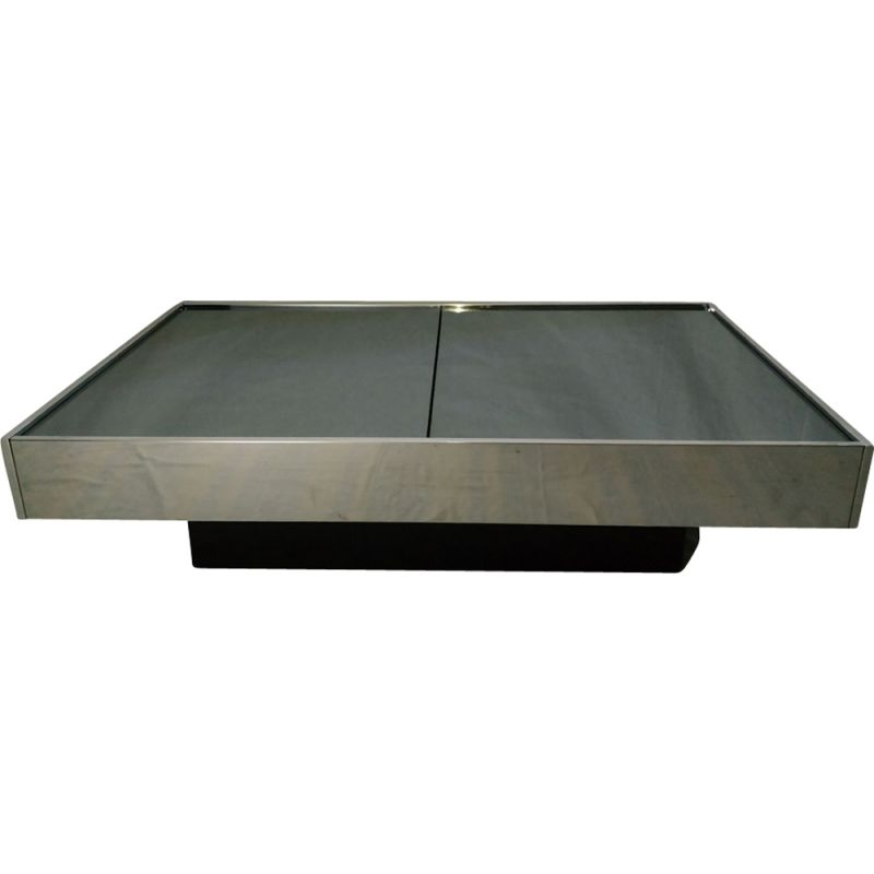 Vintage coffee table in glass metal and steel 1970
