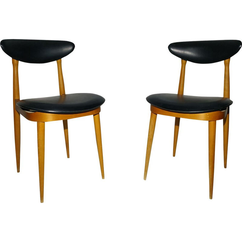 Pair of vintage Baumann chairs model Unicorn in wood 1960
