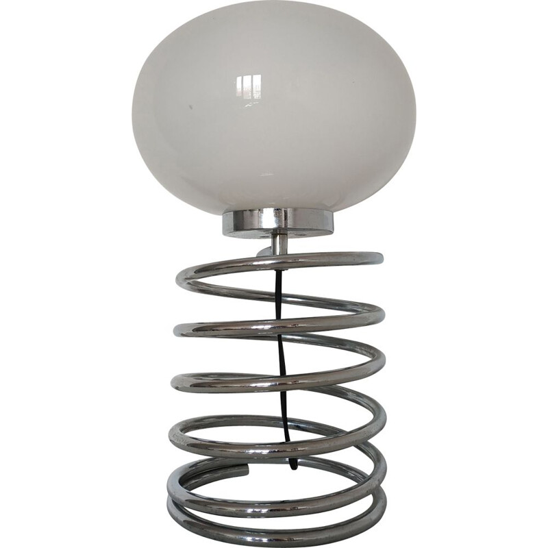 Vintage spring lamp in opaline and chromed steel 1970