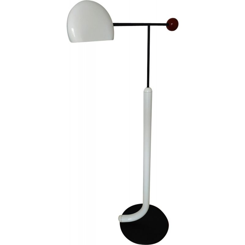 Vintage Tomo floorlamp for Luci in white metal 1980