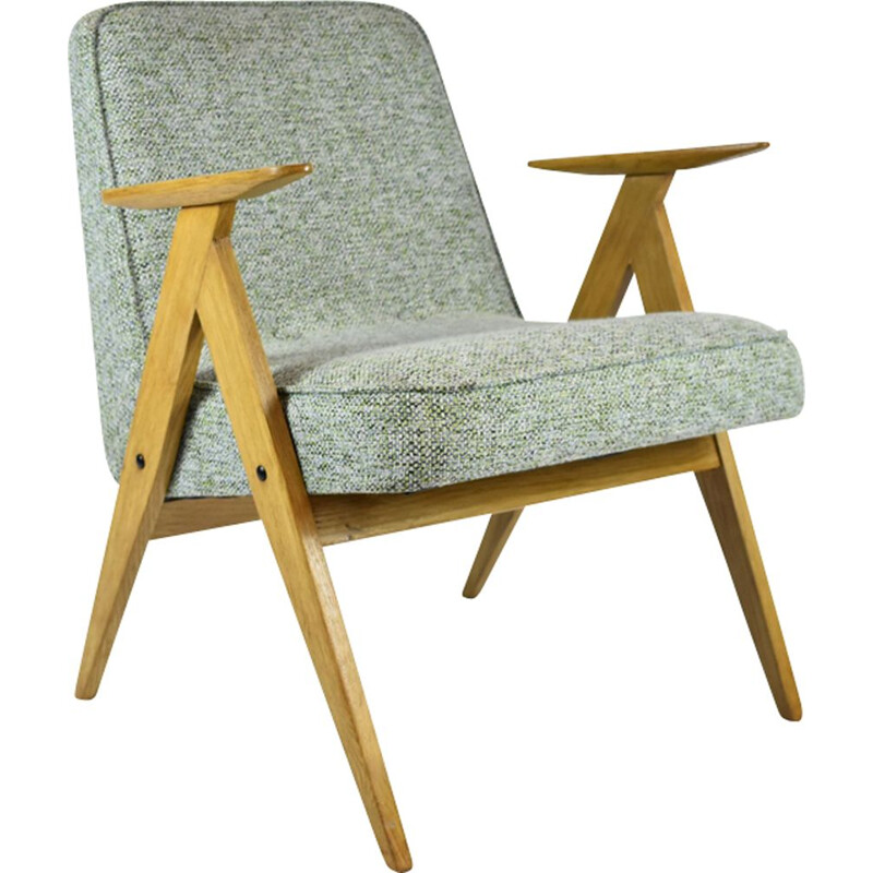 Vintage armchair in green fabric and wood 1970