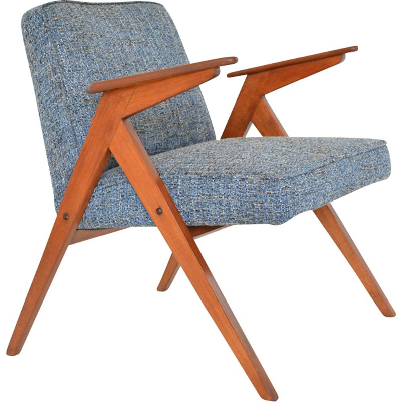 Vintage armchair in blue fabric and wood 1970