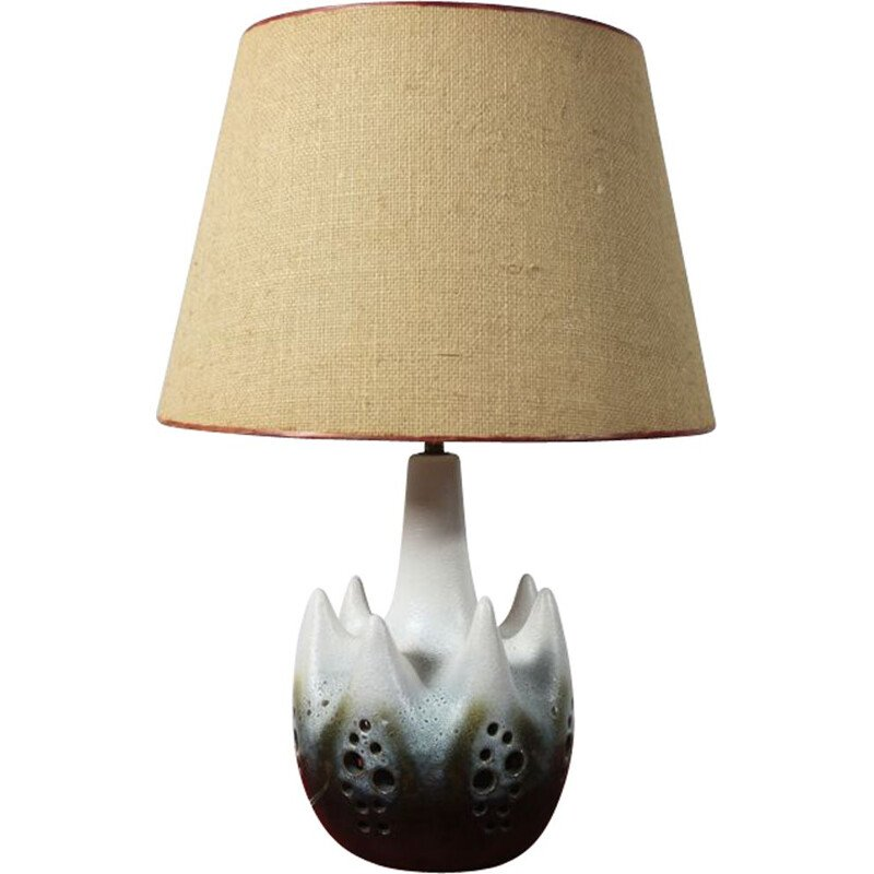 Vintage lamp in ceramic and jute France 1950s