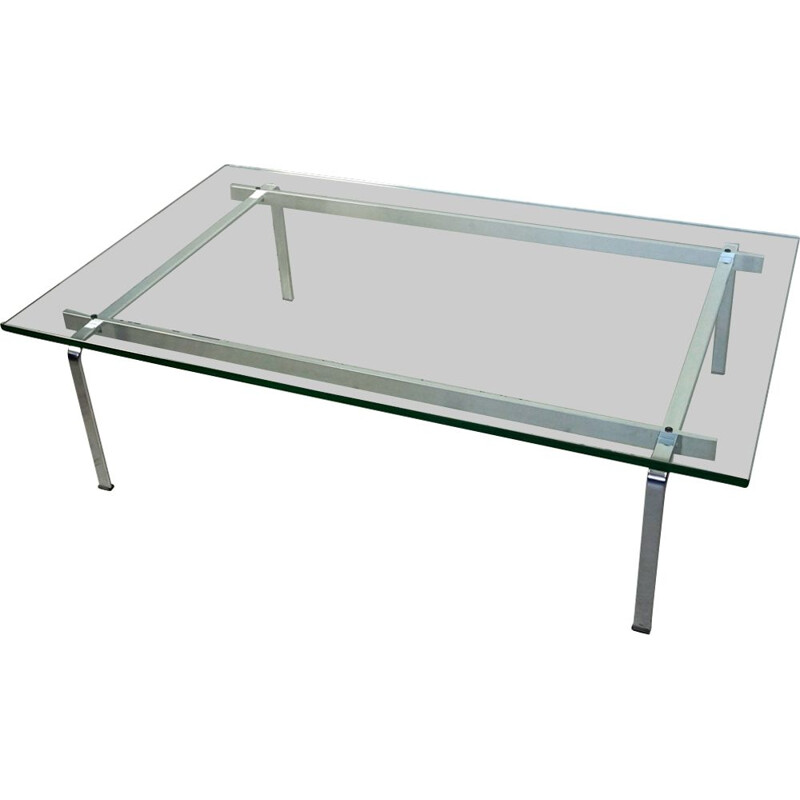 Vintage coffee table KF91 Steel and Glass By Fabricius and Kastholm Scandinavian 1960s