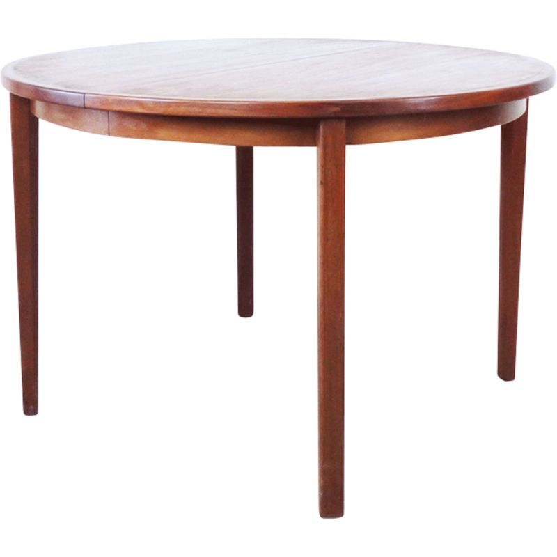 Vintage dining table round in teak with extension Sweden 1960
