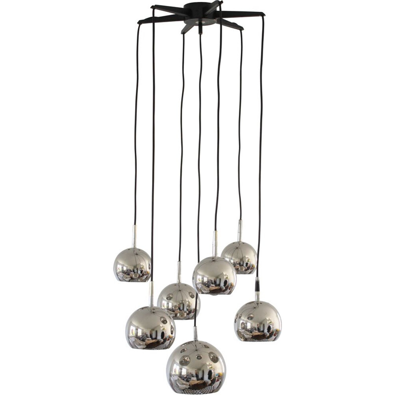 Vintage chandelier cascading chrome Space Age 1970s