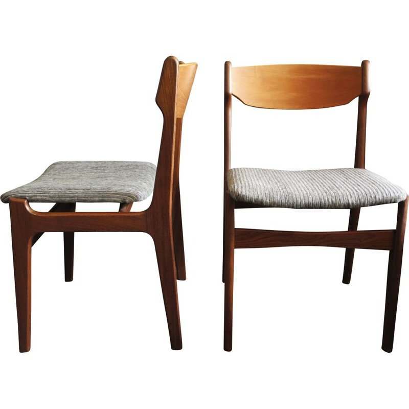 Pair of vintage chairs in teak by Erik Buch Denmark 1960s