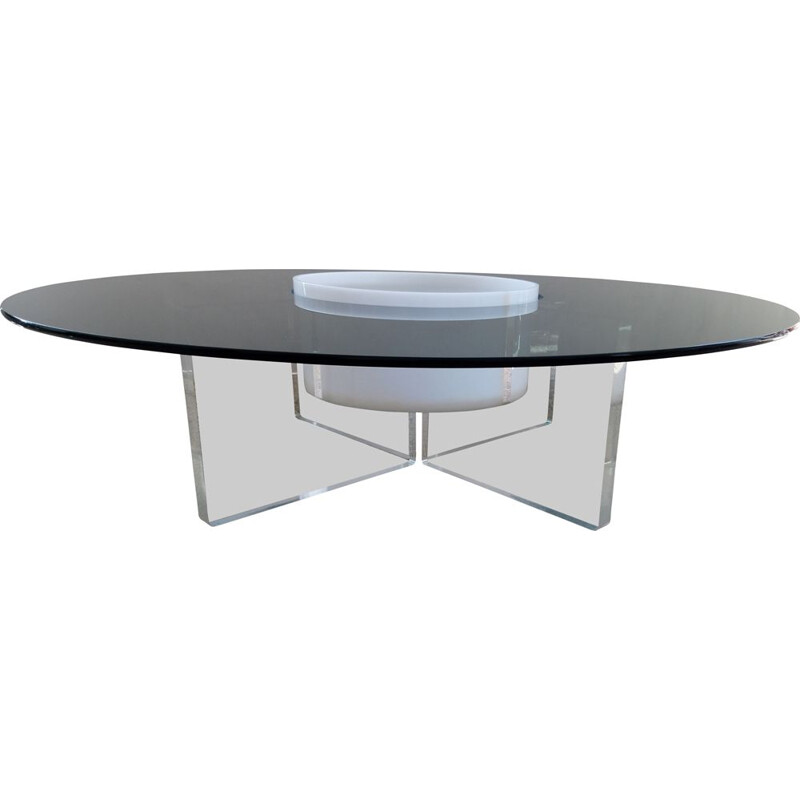 Vintage coffee table in glass and perspex with central niche 1970s