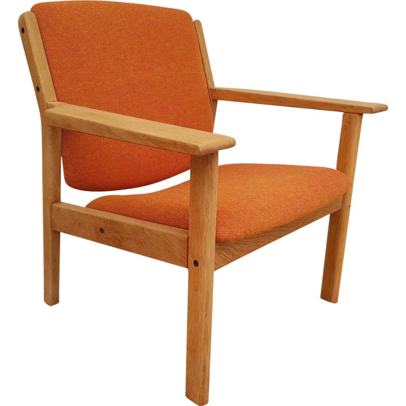 Vintage armchair in oak and Kvadrat fabric by FDB Mobler Denmark 1970s