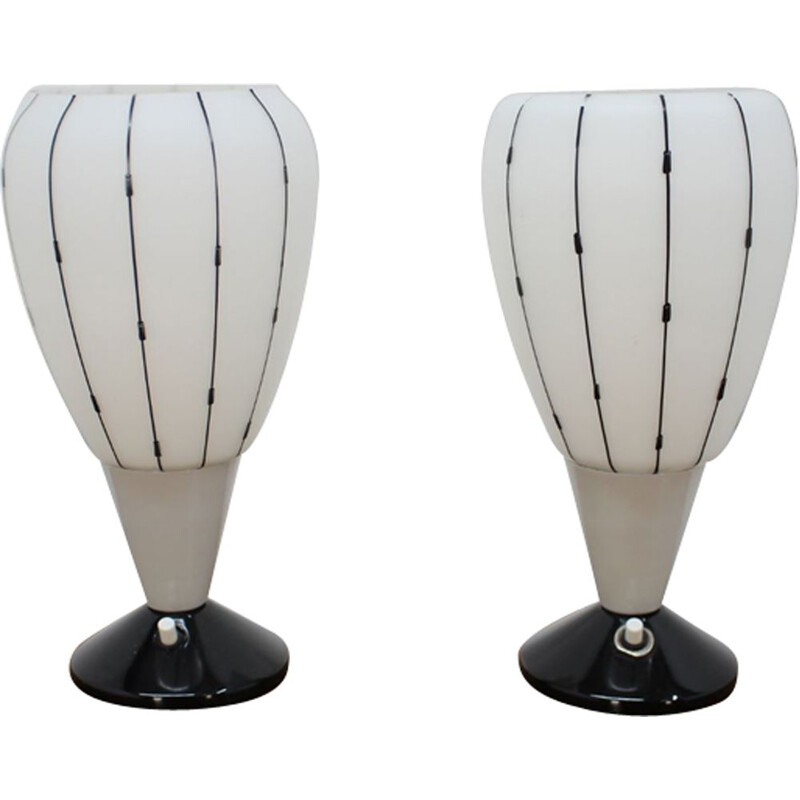 Set of 2 vintage table lamp by Drukov 1950